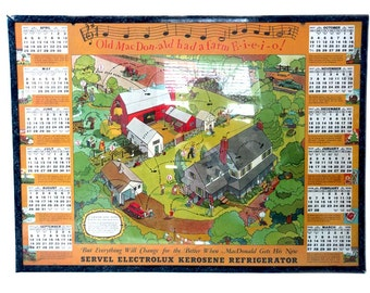 Servel Electrolux 1937 Wall Calendar Old MacDonald Had a Farm E-I-E-I-O 12 Months Humorous Funny Farmer Advertising Calendar