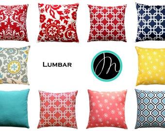 CLEARANCE Lumbar Pillow Covers, Throw Pillow Cover, Zippered Pillow, Rectangular Cushion Cover, Decorative Pillows, Designer Pillow Cases