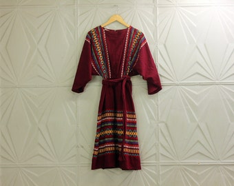 Vintage Guatemalan Guatemala Mexican Midi Dress MAROON Festival Hippie Boho Bohemian Retro Colorful Woven Fabric