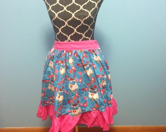 Lolita Pinup skirt READY TO SHIP 100% cotton flat front 1/2 elastic