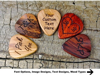 ONE Custom Engraved Wooden Guitar Pick -(Choose Wood Type and Design) - Wood Guitar Pick - Guitar Pick - Custom Guitar Pick - LASER ENGRAVED