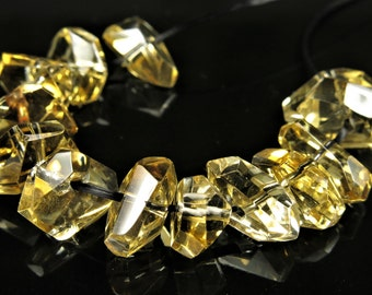 High Clarity Top Grade Natural Citrine Quartz Simple Cut Beads - 9~13mm (bead length) - B6585