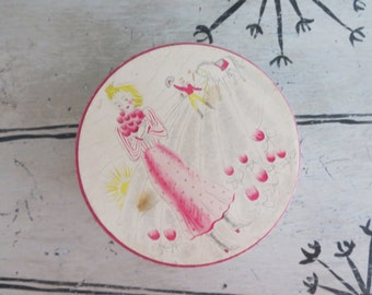 Yanky Clover Dusting Powder Box Dresser Box Trinket Box Vintage Box Jewelry Storage Pink and Yellow Shabby Decor Pink Decor
