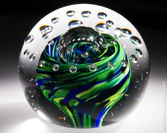 One Of A Kind Art Glass Paperweight - Blue and Green Streaks with Bubbles