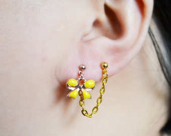 Yellow Bow Gold Cartilage Earrings (Pair)