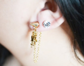 Gold Spike and Cross Ear Jacket Earrings