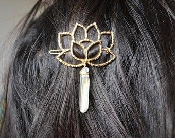 Ice Blue Quartz Gold Lotus Hair Clip