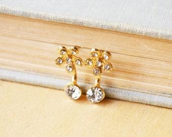 Gold Flower Crystal Ear Jacket Earrings Studs
