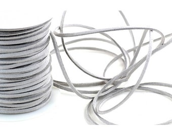 "Faux Suede Leather Cord Gray  1/8"" width 5 yards"