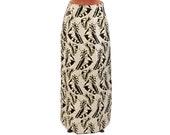 Vintage 1970's Pale Metallic Gold + Black Butterfly Wing Novelty Print High Waist A-Line Maxi Skirt S