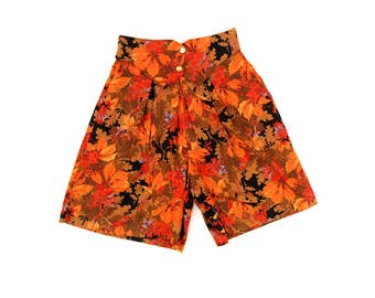 Vintage 1980's Soft Rayon Red + Brown High Waist Loose Fitting Abstract Floral Leaf Novelty Print Shorts S