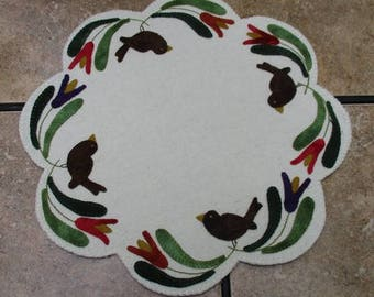 Birds of a Feather Penny Wool Candle Mat