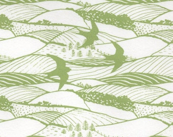 2 sheets of'Hills and Dales pattern, silkscreen handprinted paper, in green and cream