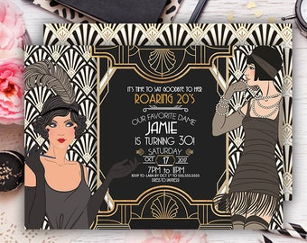 Roaring 20s invitation-Great Gatsby Invitatio -30th birthday invitation-1920s -Art Deco invitation-30 year old-vintage invitation-PRINTABLE