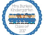 24 STICKERS, Kindergarten Graduation, Kinder Grad, Class of 2017, School Colors, Graduation Stickers, Graduation Party Favors (482)