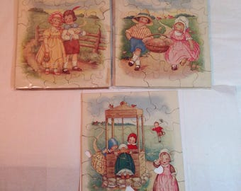 Antique Jigsaw Children's Puzzles Lot of 3 Mary Lafetra Russell Picture Puzzles