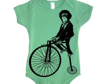ON SALE Circus Monkey On A Bike Bodysuit - American Apparel One Piece - Baby Shower Gift Ideas Present For New Mom New Born Baby Babies