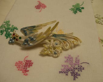 Mid Century Celluloid Bird Brooch  Pin Bird in Flight Adorned with Multi Colored Stones Unique Brooch Pin Circa 1950s or Before