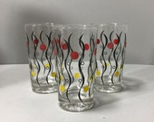 3 Vintage Modern Glassware Yellow Red and Black Tumbler Drinking Glass Barware