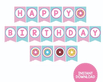 Donut Party Banner, Happy Birthday Banner, Donut Party, Personalized, Printable, Digital, Donut Party Supplies