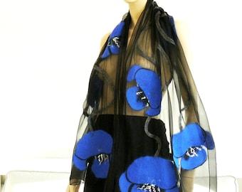 Nuno Felted Scarf merino wool silk floral Nuno felting shawl  blue flowers