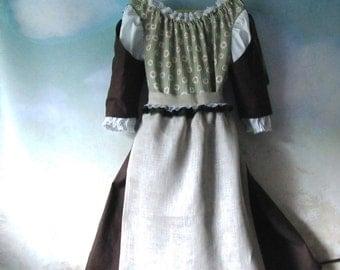 Girl's Renaissance, Heidi, Gretel, Hobbit, Bavarian, German Dirndl With Apron: All Cotton Fabric, Size 8 & 10, Ready To Ship Now