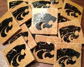 CUSTOM ORDER - 18 Kansas State Wildcat Coasters - Handcarved Stamps