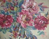 Quilt Backing, Wide Floral Fabric, Pale Old Gold Background, Large Floral Teal Gold Rose, Vintage, Decorator Lightweight, Pale Old Gold