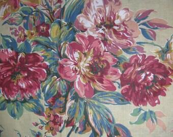 Remnant of Wide Floral Fabric, Pale Old Gold Background, Large Floral Teal Gold Rose, Vintage, Decorator Lightweight, Pale Old Gold