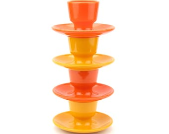 Set of Four Stacking Plastic Emsa West German Egg Cups