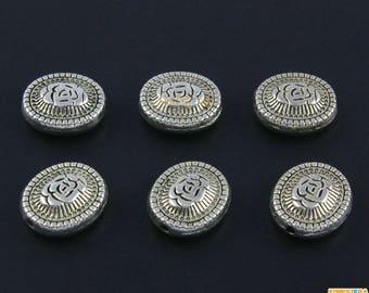 50Pcs Antique Silver Oval Bead Rose Charm Rose Bracelet Bead Flower Pendant 12x10mm (PND1518)