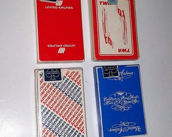 Choice 1 Airline playing cards sealed deck Vintage paper supplies American airlines United TWA advertising promo giveaway ephemera