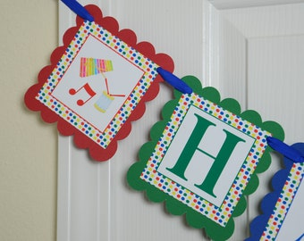 Music Happy 1st Birthday Banner, Music Birthday , Music Theme, White, Blue, Green, Yellow and Red Primary Colors