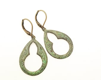 Cathedral Window Patina Earrings