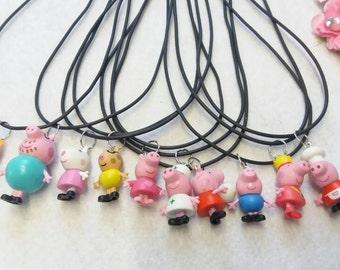 10 Pig Figure Necklaces Party favors