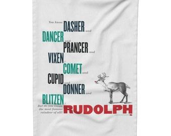 Rudolph Tea Towel, Gift Idea for Her, Holiday Season Tea Towel, Christmas Kitchen Linen, Christmas Dish Cloth, Christmas Reindeer Tea Towel