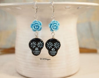 Sugar Skull Bead Earrings  Day of the Dead Earrings Black and Blue Dangle Pierced or Clip-on  Earrings Czech Bead Earrings Cinco de Mayo