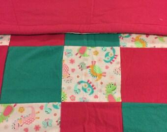 READY TO SHIP- Little Girl Dinosaur Quilt, Blanket, Dino, Toddler, Baby, Crib