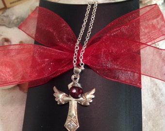 Sterling Silver Ruby Necklace