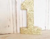 "Birthday #1 ~Gold Glitter 16"" Free Standing ~ Photo Prop ~ Decoration ~ Table Decor"