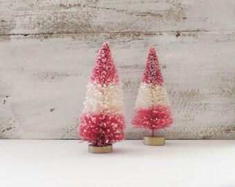 "Patriotic Red & White Stripe Bottle Brush Tree Set of 2 ~ 3.5"" ~ 4th of July ~ Fairy Garden ~ Putz Village ~ Doll House"