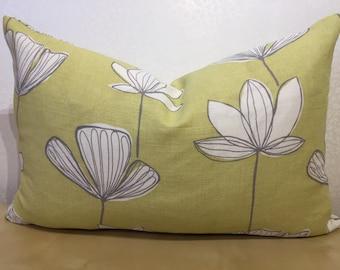Chartreuse LINEN cushion cover SCANDI design cushion John Lewis fabric Modern print pillow Floral oblong yellow pillow Lime Zest cushion