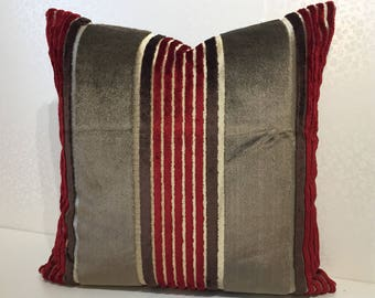 NARROW stripes of Red & Brown with wide mocha stripe by Osborne and Little, square SALON velvet fabric cushion cover by MoGirl DESIGNS