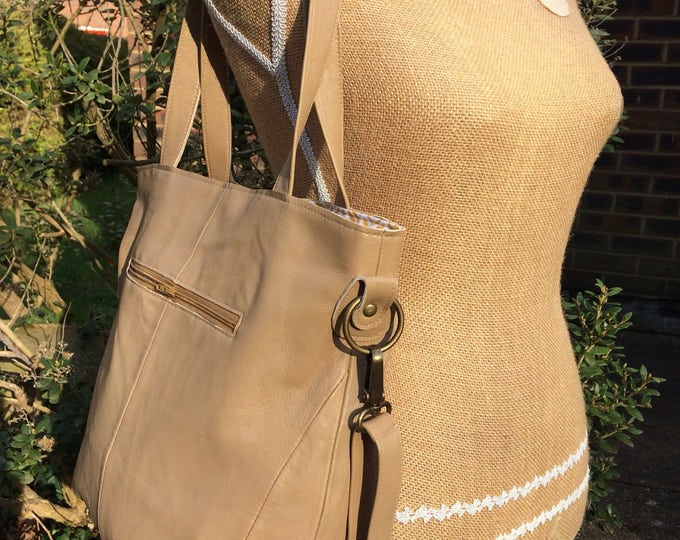 Recycled leather bag - Hobo style bag made with soft Tan leather-detachable strap-shoulder or hand held. Get 30%off see details