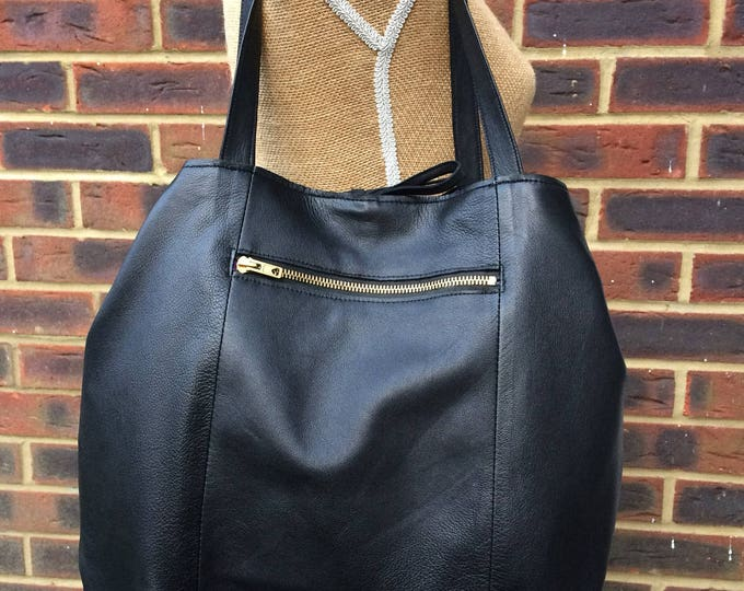 Recycled Leather Bag - Soft Black Leather Large Shopper/Tote - shoulder - hand held - cross body - multi purpose. Get 30% off see details