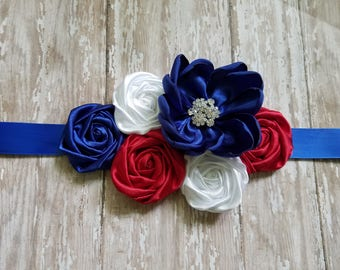 Red white and blue sash for maternity, bridal, bridesmaids or flower girls