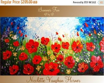 2 DAY SALE XLarge Original Contemporary    modern  impasto abstract  palette knife  RED POPPIESl  painting by Nicolette Vaughan Horner