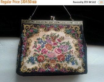 Black Flowered Clutch Handbag * Beaded Antique Evening Bag * 1940's 1950's Collectible Purse * Art Deco Petit Point Purse