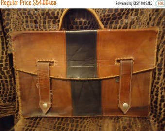 On Sale Vintage Distressed Handcrafted Leather Briefcase 1930's 1940's Antique Retro Collectible Art Deco Accessory Martini Mermaid
