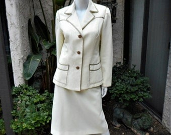 Vintage 1960's Lilli Ann Cream Colored Suit with Taupe Piping - Size 12